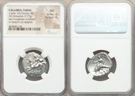 CALABRIA. Tarentum. Ca. early-3rd century BC. AR stater or didrachm (22mm, 7.77 gm, 11h). NGC AU 4/5 - 3/5. Philon and Ey-, magistrates. Nude youth on...