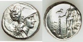 LUCANIA. Heraclea. Ca. 330-280 BC. AR stater (19mm, 7.89 gm, 6h). VF, smoothed, brushed. ΗΕPΑΚΛΗΙΩ-Ν, head of Athena right, wearing Corinthian helmet ...