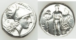 LUCANIA. Heraclea. Ca. 330-280 BC. AR stater (19mm, 7.91 gm, 9h). VF, graffito, smoothed, brushed. ΗΕPΑΚΛΗΙΩ-Ν, head of Athena right, wearing Corinthi...