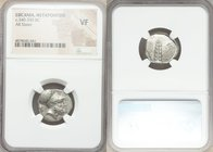 LUCANIA. Metapontum. Ca. 340-330 BC. AR stater (19mm, 6h). NGC VF. Head of Leucippus right, wearing Corinthian helmet pushed back on head; lion head r...