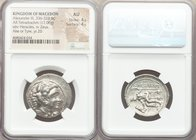 MACEDONIAN KINGDOM. Alexander III the Great (336-323 BC). AR tetradrachm (27mm, 17.06 gm, 9h). NGC AU 4/5 - 4/5. Lifetime issue of Ake or Tyre, dated ...