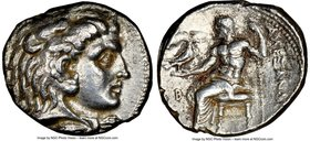 MACEDONIAN KINGDOM. Alexander III the Great (336-323 BC). AR tetradrachm (25mm, 1h). NGC XF. Late lifetime or early posthumous issue of Berytus, 323-3...
