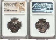 MACEDONIAN KINGDOM. Alexander III the Great (336-323 BC). AR tetradrachm (25mm, 17.21 gm, 1h). NGC Choice VF 4/5 - 2/5, smoothing, graffito. Late life...