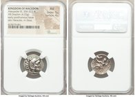 MACEDONIAN KINGDOM. Alexander III the Great (336-323 BC). AR drachm (18mm, 4.25 gm, 1h). NGC AU 5/5 - 4/5. Early posthumous issue of 'Colophon', ca. 3...