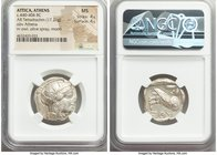 ATTICA. Athens. Ca. 440-404 BC. AR tetradrachm (24mm, 17.21 gm, 3h). NGC MS 4/5 - 4/5. Mid-mass coinage issue. Head of Athena right, wearing crested A...