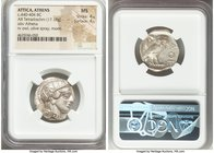ATTICA. Athens. Ca. 440-404 BC. AR tetradrachm (23mm, 17.19 gm, 6h). NGC MS 4/5 - 4/5. Mid-mass coinage issue. Head of Athena right, wearing crested A...