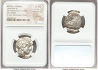 ATTICA. Athens. Ca. 440-404 BC. AR tetradrachm (21mm, 17.20 gm, 6h). NGC Choice AU 5/5 - 5/5, die shift. Mid-mass coinage issue. Head of Athena right,...