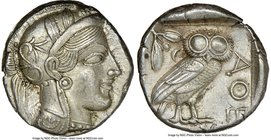 ATTICA. Athens. Ca. 440-404 BC. AR tetradrachm (24mm, 17.21 gm, 2h). NGC AU 5/5 - 4/5. Mid-mass coinage issue. Head of Athena right, wearing crested A...