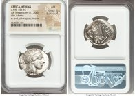 ATTICA. Athens. Ca. 440-404 BC. AR tetradrachm (26mm, 17.20 gm, 5h). NGC AU 5/5 - 4/5. Mid-mass coinage issue. Head of Athena right, wearing crested A...
