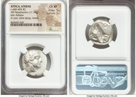 ATTICA. Athens. Ca. 440-404 BC. AR tetradrachm (22mm, 17.19 gm, 3h). NGC Choice XF 5/5 - 5/5. Mid-mass coinage issue. Head of Athena right, wearing cr...