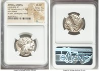ATTICA. Athens. Ca. 440-404 BC. AR tetradrachm (25mm, 17.18 gm, 7h). NGC Choice XF 4/5 - 4/5. Mid-mass coinage issue. Head of Athena right, wearing cr...