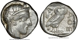 ATTICA. Athens. Ca. 440-404 BC. AR tetradrachm (23mm, 17.23 gm, 9h). NGC Choice XF 4/5 - 4/5. Mid-mass coinage issue. Head of Athena right, wearing cr...