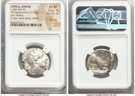 ATTICA. Athens. Ca. 440-404 BC. AR tetradrachm (25mm, 17.14 gm, 9h). NGC Choice XF 4/5 - 4/5, flan flaw. Mid-mass coinage issue. Head of Athena right,...