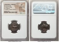 CORINTHIA. Corinth. Ca. 4th century BC. AR stater (20mm, 8.38 gm, 2h). NGC XF 4/5 - 2/5, scuff. Pegasus flying left, ϙ below / Head of Athena left, we...