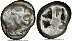 CARIA. Uncertain mint (Mylasa?). Ca. 500-450 BC. AR stater (18mm). NGC Fine. Forepart of lion right / Incuse square divided by band. SNG Kayhan 930.  ...