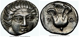 CARIAN ISLANDS. Rhodes. Ca. 408-390 BC. AR hemidrachm (11mm, 1h). NGC Choice XF. Facing head of Helios, turned slightly right / P-O, rose within incus...