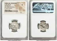CARIAN ISLANDS. Rhodes. Ca. 250-205 BC. AR didrachm (20mm, 11h). NGC Fine. Ca. 250-229 BC. Agesidamos, magistrate. Radiate facing head of Helios, turn...