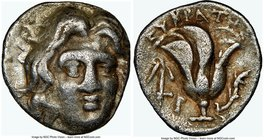 CARIAN ISLANDS. Rhodes. Ca. 230-205 BC. AR hemidrachm (11mm, 1h). NGC VF. Eucrates, magistrate. Facing head of Helios, turned slightly right / ΕΥΚΡΑΤΗ...