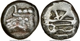 LYCIA. Phaselis. Ca. 500-440 BC. AR stater (19mm, 12h) NGC VF. Prow of galley left, in the form of a boar's head and foreleg, three shields above / Ro...