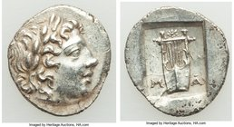 LYCIAN LEAGUE. Masicytes. Ca. 1st century BC. AR hemidrachm (14mm, 1.88 gm, 1h). Choice AU. Series 1. Laureate head of Apollo right; Λ-Y below / M-A, ...