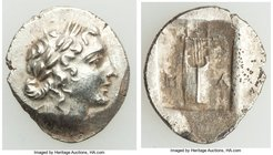 LYCIAN LEAGUE. Masicytes. Ca. 1st century BC. AR hemidrachm (14mm, 2.05 gm, 1h). AU, horn silver. Series 1. Laureate head of Apollo right; Λ-Y below /...