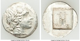 LYCIAN LEAGUE. Masicytes. Ca. 1st century BC. AR hemidrachm (16mm, 1.78 gm, 12h). AU. Series 2. Laureate head of Apollo right; flower on vine below / ...