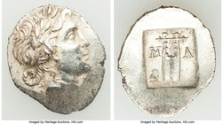 LYCIAN LEAGUE. Masicytes. Ca. 1st century BC. AR hemidrachm (15mm, 1.83 gm, 11h). AU. Series IV. Laureate head of Apollo right; Λ-Y below / M-A, citha...