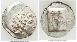 LYCIAN LEAGUE. Masicytes. Ca. 1st century BC. AR hemidrachm (15mm, 1.97 gm, 12h). AU. Series 5. Laureate head of Apollo right; Λ-Y below / M-A, cithar...