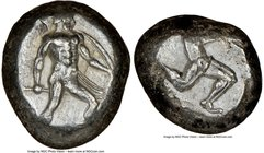 PAMPHYLIA. Aspendus. Ca. mid-5th century BC. AR stater (17mm). NGC Choice VF. Ca. 465-430 BC. Helmeted nude hoplite advancing right, spear forward in ...