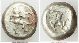 PAMPHYLIA. Aspendus. Ca. mid-5th century BC. AR stater (19mm, 10.66 gm). VF. Helmeted nude hoplite warrior advancing right, spear forward in right han...
