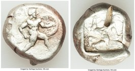 PAMPHYLIA. Aspendus. Ca. mid-5th century BC. AR stater (18mm, 10.82 gm). VF, test cut. Helmeted nude hoplite warrior advancing right, shield on left a...