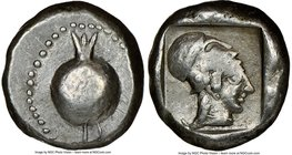 PAMPHYLIA. Side. Ca. 5th century BC. AR stater (18mm, 6h). NGC VF. Ca. 430-400 BC. Pomegranate, dotted border / Head of Athena right, wearing uncreste...