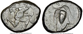 CILICIA. Mallus. Ca. 440-385 BC. AR stater (22mm, 4h). NGC VF, die shift. Bearded male, winged, in kneeling/running stance right, holding solar disk w...