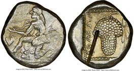 CILICIA. Soloi. Ca. 440-400 BC. AR stater (18mm, 10.61 gm, 1h). NGC AU 5/5 - 2/5, test cut. Amazon, nude to waist, on one knee left, wearing pointed c...