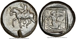 CILICIA. Tarsus. Ca. late 5th century BC. AR stater (19mm, 10.64 gm, 4h). NGC Choice XF 4/5 - 2/5, test cut. Satrap on horseback riding left, reins in...