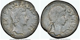 SPAIN. Turiaso. Augustus (27 BC-AD 14). AE (27mm, 2h). NGC Fine. Ca. 2 BC-14 AD. IMP AVGVSTVS•P•P, laureate head of Augustus right / TVRIASO•, female ...