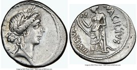 Mn. Acilius Glabrio (ca. 49 BC) AR denarius (18mm, 5h). NGC Choice VF, brushed. Rome. Laureate head of Salus right, wearing cruciform earring and bead...