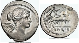 T. Carisius (ca. 46 BC). AR denarius (18mm, 3h). NGC VF, brushed. Rome. Draped and winged bust of Victory right / T•CARISI, Victory driving fast quadr...
