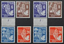 Briefmarken / Postmarken, Deutschland / Germany. DDR. Friedenstag. 6, 8, 12, 24 Pf 1950. Mi.Nr.: 276 - 279 **
