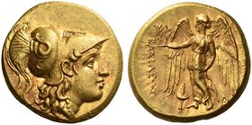 Kings of Macedonia. Alexander III, 336-323 BC, posthumous issue. Stater, Sardes circa 323-319, AV 8.51 g. Head of Athena r., wearing crested Corinthia...