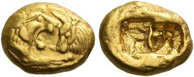 Kings of Lydia, time of Cyrus II and Darios I. Stater light series, Sardes circa 505-500, AV 8.05 g. Foreparts of confronted lion and bull. Rev. Two i...