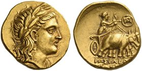 Seleucid Empire, Seleucus I Nikator, 312 – 281. Stater, Bactra or Aï Khanoum circa 290/286-281, AV 8.52 g. Laureate head of Apollo r. Rev. ΒΑΣΙΛΕΩ[Σ] ...