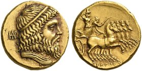 Usurper King in Parthia, Andragoras circa 245-239/8. Stater circa 245-239/8, AV 8.54 g. Diademed and draped bust of Zeus r.; behind, monogram. Rev. Fa...