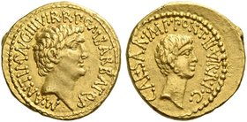 Marcus Antonius and C. Caesar Octavianus with M. Barbatius. Aureus, mint moving with M. Antonius 41, AV 8.02 g. M·ANT·IMP·AVG·III·VIR·R·P·C·M·BARBAT·Q...
