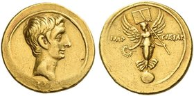 Octavian, 32 – 27 BC. Aureus circa 29-27 BC, AV 7.82 g. Bare head r. Rev. IMP – CAESAR Victory standing facing on globe, head l., holding wreath and s...