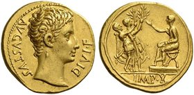 Octavian as Augustus, 27 BC – 14 AD. Aureus, Lugdunum 15-13 BC, AV 7.86 g. AVGVSTVS – DIVI·F Bare head r. Rev. Two soldiers (or Drusus and Tiberius) w...