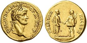 Claudius, 41 – 54. Aureus 41-42, AV 7.73 g. TI CLAVD CAESAR AVG P M TR P Laureate head r. Rev. PRAETOR – RECEPT Claudius, bare-headed and togate, stan...