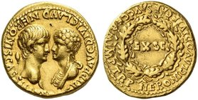 Nero augustus, 54 – 68. Aureus October-December 54, AV 7.54 g. AGRIPP AVG DIVI CLAVD NERONIS CAES [MATER] Confronted busts of Nero, bare-headed l., an...