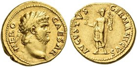 Nero augustus, 54 – 68. Aureus 64-65, AV 7.39 g. NERO – CAESAR Laureate and bearded head r. Rev. AVGVSTVS – GERMANICVS Nero, radiate, standing facing,...