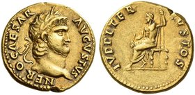 Nero augustus, 54 – 68. Aureus 64-65, AV 7.36 g. NERO CAESAR – AVGVSTVS Laureate and bearded head r. Rev. IVPPITER – CVSTOS Jupiter seated l. on thron...